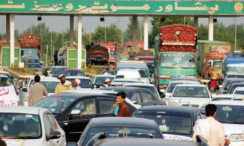 Protest causes traffic jams in Peshawar