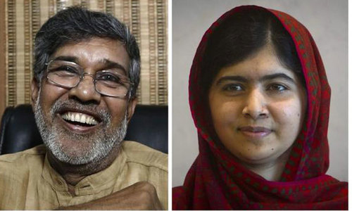 Kailash Satyarthi (L), Indian anti-child labour activist and head of the South Asian Coalition Against Child Servitude,and Pakistani education activist Malala Yousafzai (r). — File photo by Reuters