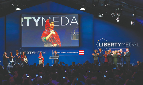 Malala receives US Liberty award