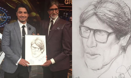 Ali Zafar does sketch of Big B on live show