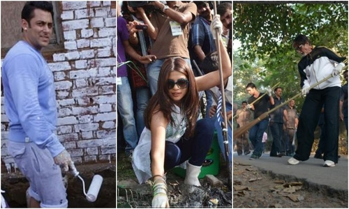 Bollywood celebrities support 'Clean India' campaign