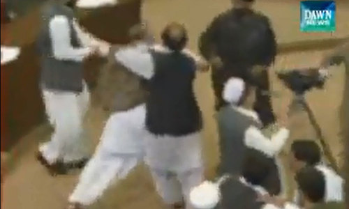 Rumpus in KP Assembly over Islamabad sit-in