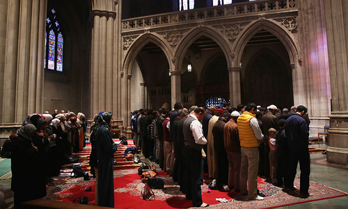 In a first, Muslims pray inside Washington's National Cathedral