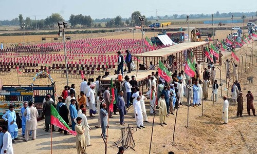 Stage set for PTI rally in Larkana today