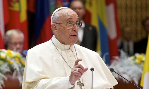 Pope slams 'state terrorism' and 'haggard' Europe