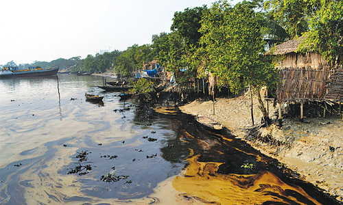 BD begins oil clean-up with sponges and sacks
