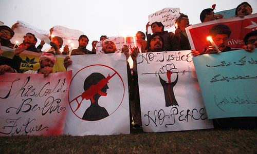 """Death to terrorists"" chants outside Army Public School"