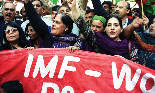 Protesters condemned conditions of the IMF on Pakistan and urged international financial institutions to write off Pakistan's loans.— File Photo