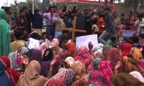 People gathered to record their protest against the deadly church attacks - DawnNews screen grab