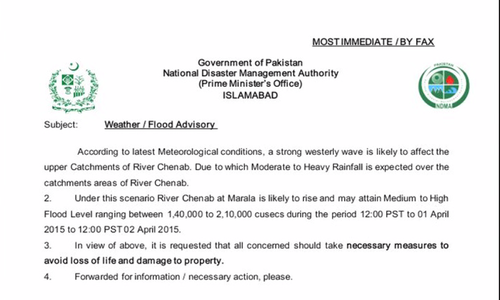 NDMA issues flood warning for areas in Punjab