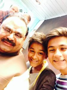Wasay Jalil's boys pose for a selfie with Altaf Hussain — Photo provided by Wasay Jalil
