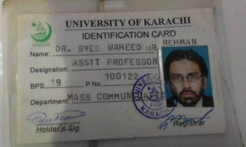 Professor Wahidur Rahman's identification card identifies him as an assistant professor. —DawnNews screengrab