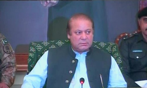 PM Nawaz Sharif chairing the security meeting in Karachi.- DawnNews screengrab