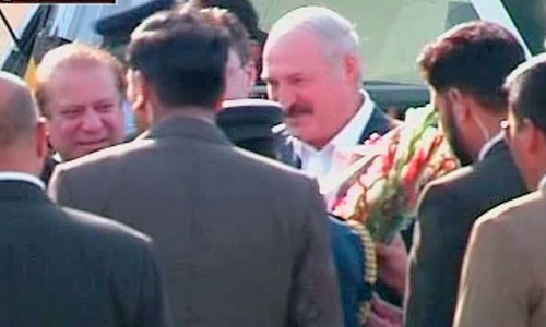 President Lukashenko and Prime Minister Nawaz Sharif at Nur Khan airbase. ─ DawnNews screengrab