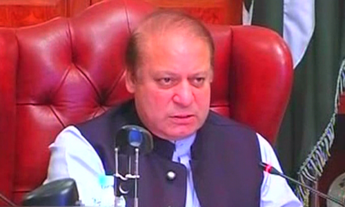 Prime Minister Nawaz Sharif addresses high-level meeting on law and order situation in Balochistan. ─ DawnNews screengrab