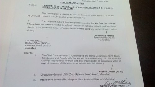 A copy of the government's order to seal 'Save the Children'. ─ DawnNews