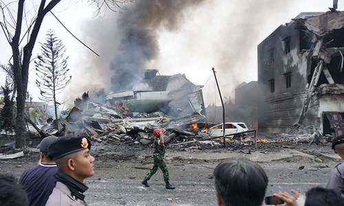 Indonesian military plane crashes in ball of flames