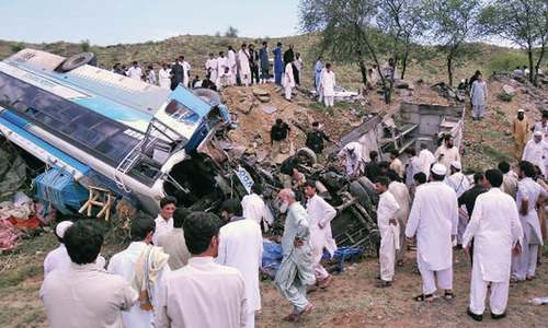 Four killed in bus-van collision in Karak