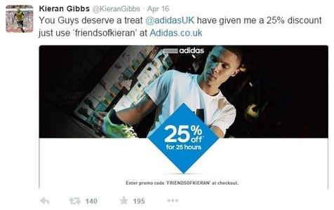 In the UK, Adidas ran this promo using Arsenal FC footballer Kieran Gibbs