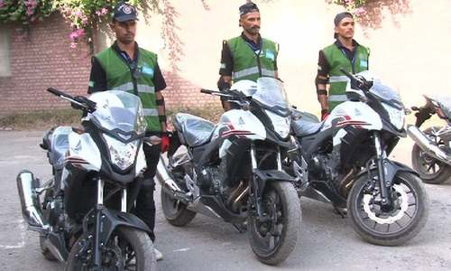 The new 500cc motorbikes issued to the Dolphin Force. DawnNews screengrab