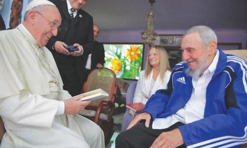 Pope visits Castros' home region