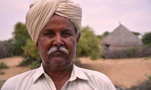 Khait Singh of Haryar village spends sleepless nights over the recent death of his animals. — Photo by Ammar Guriro