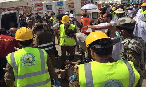 Teams on the ground are leading pilgrims to safety away from the stampede by means of alternate routes. ─ Photo: Civil Defence Service official Twitter.