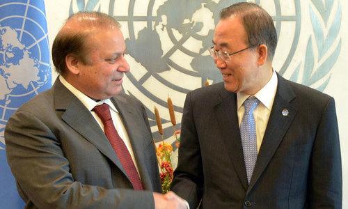 PM Nawaz urges Ban Ki-moon for plebiscite in Kashmir