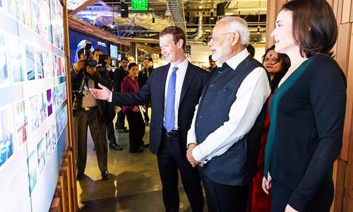 Indian PM Modi makes rock star appearance at Facebook