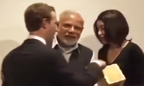 By pulling Zuckerberg aside, Modi demonstrated that he always knows where the camera is