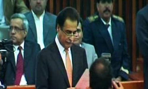 Ayaz Sadiq taking oath as MNA. ─ DawnNews screengrab.