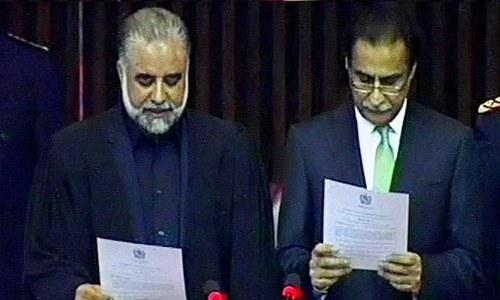 Ayaz Sadiq takes oath as NA Speaker. ─ DawnNews screengrab.