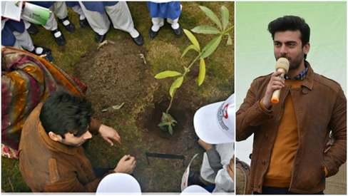 Fawad Khan shows off his green thumb at tree plantation in Peshawar
