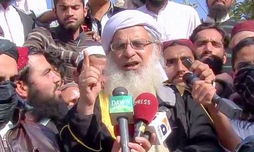 The rally announced by Lal Masjid cleric Abdul Aziz.— DawnNews screengrab