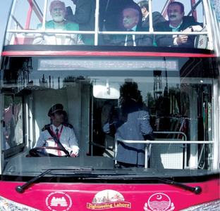 Double-decker bus service for tourists launched in Lahore