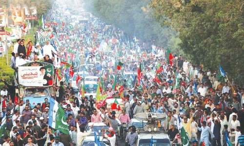 PTI's rally marches through Karachi, Imran addresses gathering in Lyari