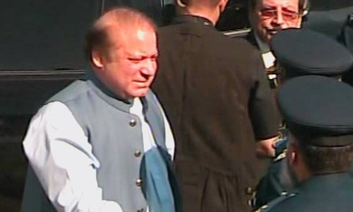 Prime Minister Nawaz Sharif attends the Air Force event in Sonmiani. ─ DawnNews screengrab