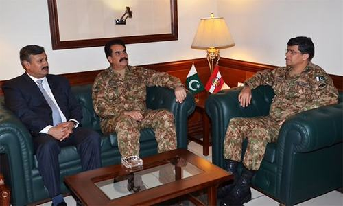 Army chief arrived at Corps HQ earlier today to review security in Karachi and Sindh. ─Photo: Lt Gen Asim Bajwa official Twitter