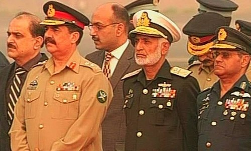 The Chief of Army Staff, Chief of Naval Staff and Chief of Air Staff were present at the reception. ─ DawnNews screengrab