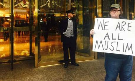 Still punk: Michael Moore launches #WeAreAllMuslim campaign to counter Trump's call for Muslim ban