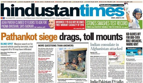 Here's how Indian newspapers covered the Pathankot attacks