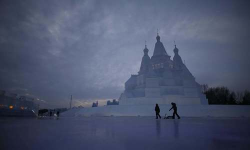 Ice and snow festival lights up China's northeast city