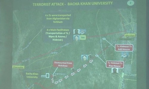 Map of Mardan and Charsadda showing 'terrorist movement'. —DawnNews