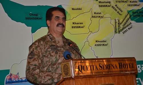 Politics of violence hurt Balochistan's image: COAS