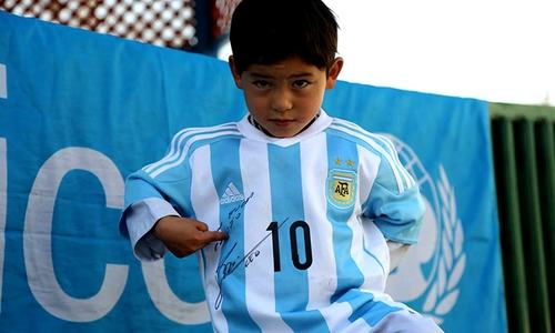 Dream come true: Afghan boy receives Lionel Messi's jersey