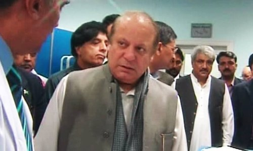 PM Nawaz and Interior Minister Chaudhry Nisar at Jinnah Hospital. ─ DawnNews