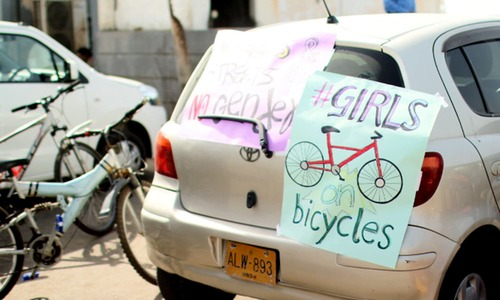 In pictures: Girls ride bikes in rally against harassment