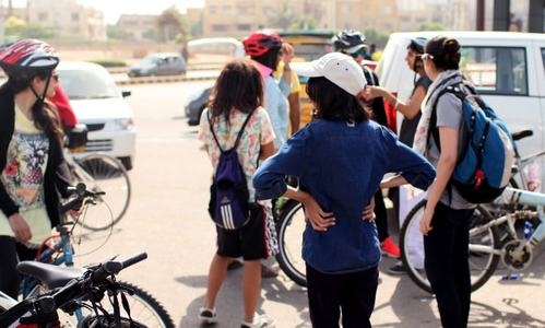 Girls gather for a bike rally outside Burger King, Karachi. — Photo courtesy Girls at Dhabas/Hadi Khatri