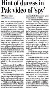 Hindustan Times article 'Hints of duress in Pak video of spy'