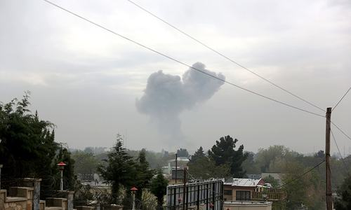 Smoke rises after a suicide attack in Kabul, Afghanistan, Tuesday, April 19, 2016. ─ AP